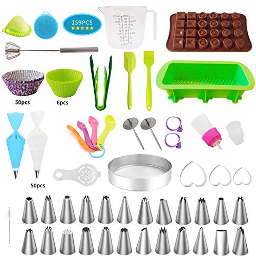 Cake Decorating Kit - 159 Pcs Cupcake Decorating Kit Supplies for Beginners Cookie Baking Supplies Cake Decorating and Tools 35 Russian Piping Tips (Mother's Day Gift)