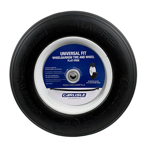 Universal Fit Wheelbarrow Tire and Wheel Flat Free - Includes Adapter Kit