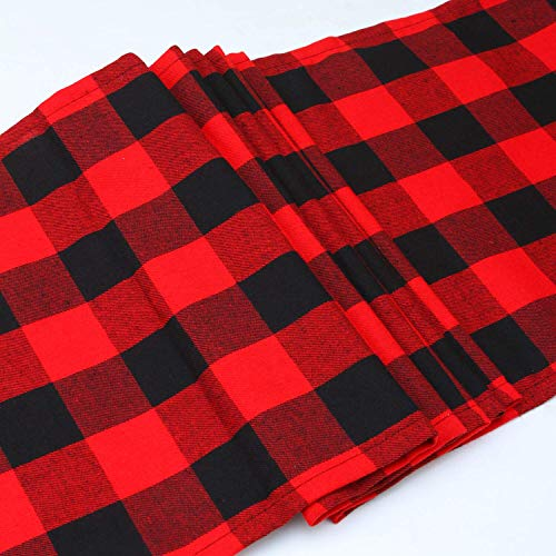 Aneco 2 Pack 13 x 108 Inches Checkered Table Runner Cotton Table Runner Trendy Modern Plaid Design Tablerunner Elegant Decor for Indoor Outdoor Events Red and Black