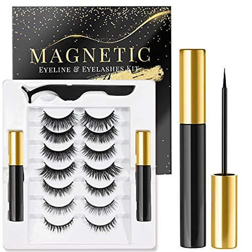Rossy Magnetic Eyelash and Eyeliner Kit 7 Pairs 3D 5D Magnetic Eyelashes with 2 Special Magnetic Eyeliners and 1 Tweezer, Easy to Apply with Natural Look