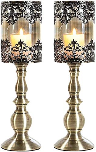 U-A 2Pcs Vintage Pillar Candle Holder, Antique Hurricane with Glass Screen Cover, Candelabra for Home Wedding Light Dinner Decoration,Metallic,1236.5cm