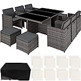 tectake 403086 Ensemble Salon de Jardin en Résine Tressée Poly Rotin Aluminium Set 6+1+4 avec Deux Set de Dousses + Housse de...