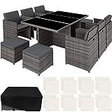 TecTake 800855 Conjunto de Muebles de Jardín Poliratán, Set Exterior 6X Sillas 4X Sillones Puf 1x Mesa, Incl. Funda Completa & Fundas Intercambiables (Gris)