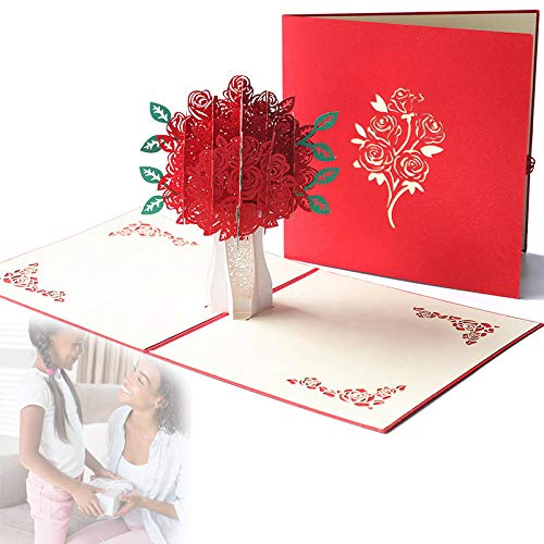 shadiao Red Rose 3D Popping Greeting Card with Envelope for Mothers Day Valentine Day,Wedding Card Congratulations and Invitation, Birthday Card