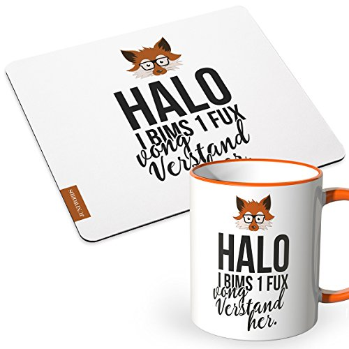 JUNIWORDS Tasse + Mousepad im Set - ideal als Geschenk - Halo i bims 1 fux vong Verstand her