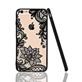 iPhone 6 Plus Case,iPhone 6s Plus Case,HUIYCUU Totem Henna Lace Flower Slim Fit Case Soft Bumper Border Matte Hard Back Cover Girls Paisley Datura Design for iPhone 6 / 6S Plus 5.5 inch,Black Mandala