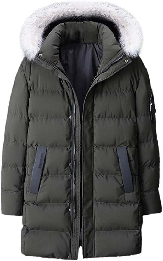 Men's Warm Cotton Coat Clearance,Winter Hooded Zipper Down Jacket Thickened Plus Size Mid Length Outwear L-9XL