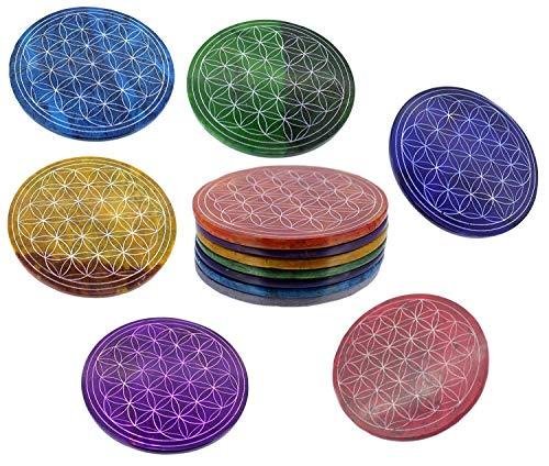 Budawi® - Untersetzer Set Blume des Lebens in 7 Farben aus Speckstein 10 cm