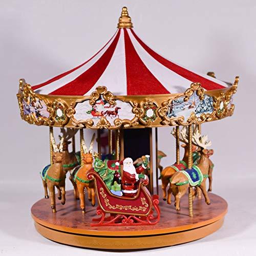 UniqueGift Mr. Christmas Very Merry Musical Karussell – 30,5 cm, Mr Christmas Rentier-Karussell, LED-beleuchtete Spieluhr, Weihnachtslieder und Klassiker