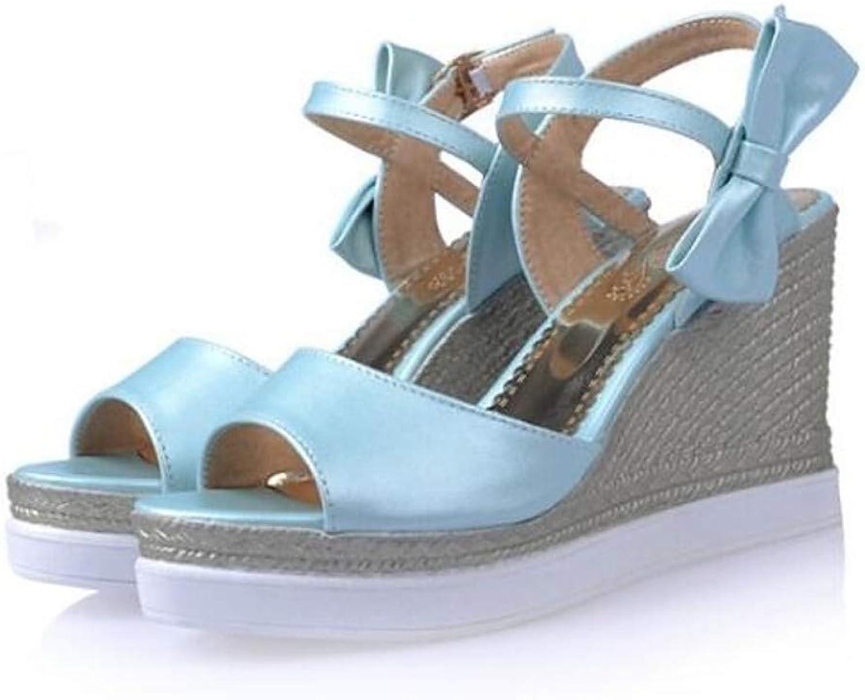 ZHZNVX Women's PU Spring Sandals Wedge Heel White bluee Pink