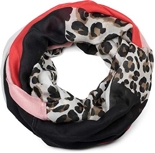 styleBREAKER Damen Loop Schal mit Leoparden Animal Print Muster und Color Blocking Farbflächen, Schlauchschal, Tuch 01016182, Farbe:Rot-Rosa