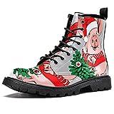 LORVIES Costume Rouge du Père Noël Cochon Sapin de Noël Bottes Montantes pour Hommes, Chaussures à Lacets en Cuir décontractées