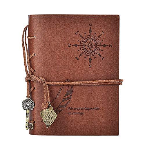 Diario Cuaderno Vintage Cuaderno de Notas Reutilizable Libros de Tapa de Cuero PU Cuadernos en relieve clásicos - Páginas...