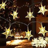 Lichterkette Sterne,Led Lichterkette außen Innen batteriebetrieben,40LEDs 6M Wasserdicht mit 2 Modi für Valentinstag Garten Weihnachtsdeko Schlafzimmer Party,Warmweiß