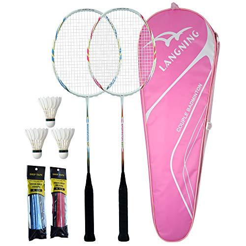 LANGNING badmintonschläger Set 2 pink Profi Carbon professionelle ultraleichte hochfeste Kohlefaser, einfach zu Spielen und flexibel, einschließlich 3 Badminton