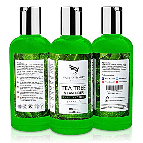 Tea Tree Oil Anti Dandruff Shampoo - [Made In UK] Therapeutic Grade | Antifungal for Dry Itchy Flaky Scalp and Hair | Prevents Head Lice Men Women | 250ml