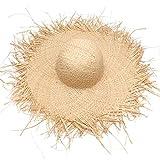つば広 フリンジハット レディース 麦わら帽子 帽子 ハット 編みっぱなし