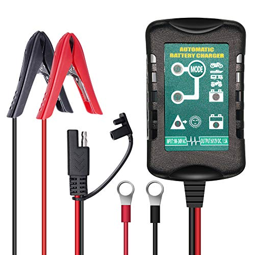 Vemote Trickle Battery Charger Maintainer, 12V / 6V Automatic Smart Battery Charger for Automotive Car Motorcycle Lawn Mower Marine Boat RV ATVs Sealed Lead Acid Battery