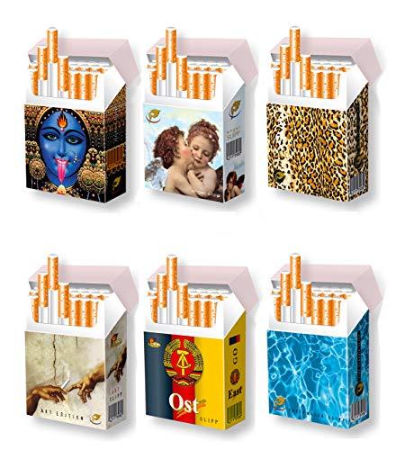 6 STÜCK indo slipp Überzieher aus Pappe für XL-Zigarettenpackungen | Größe: Bigpack Normal-Size | Motive: s. Abbildung