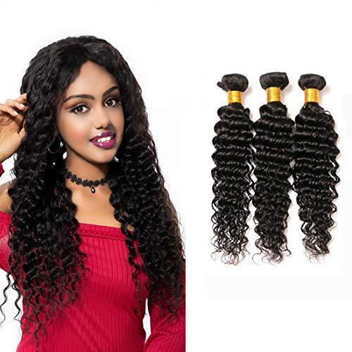 Tissage Bouclé Natural Brazilian Hair Deep Wave Tissage 3 Pieces Lot Virgin Remy Human Hair Extension Weft Natural Color (14 16 18 Inches)