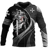 TN-KENSLY Caballeros Templarios Jesús Dios Guardia Cavalier Otoño Pullover Streetwear Impresión 3D Hombres/Mujeres Cremallera/Sudaderas Zip 3XL