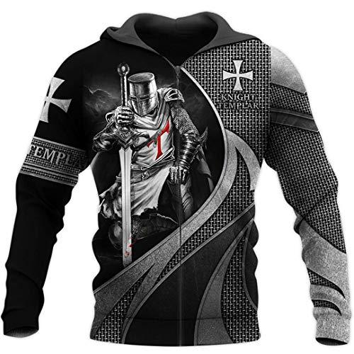 TN-KENSLY Caballeros Templarios Jesús Dios Guardia Cavalier Otoño Pullover Streetwear Impresión 3D Hombres/Mujeres Cremallera/Sudaderas Zip 5XL