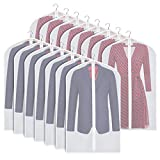 Zilink Clear Garment Bags Suit Bag for Storage 40-inch with Sturdy Zipper Moth-Proof Suit Cover Protector for Suit, Coat, Dress Clothes Cover Storage, Set of 15