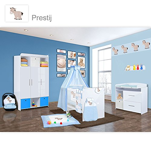 Babyzimmer Mexx in Weiss Hochglanz 22 tlg. mit 3 türigem Kl. + Set Prestij Blau