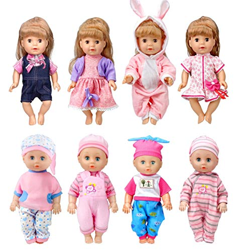 WONDOLL 8Sets BabyDollClothes for 12 inch BabyAliveDolls 101112 inch Handmade Clothing Lovely Hat Dress and Outfits Accessories Christmas Birthday for Little Girl