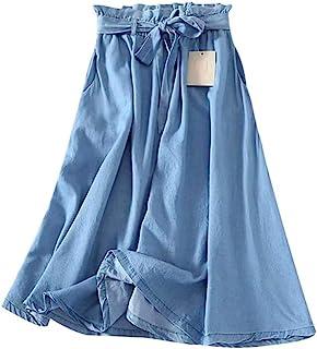 SPNEC Summer Women Tencel Blue Gonna Casual Rassuffiale Vita Vita Bowknot Jeans Sottili Gonne Gonne Denim (Size : M Code)