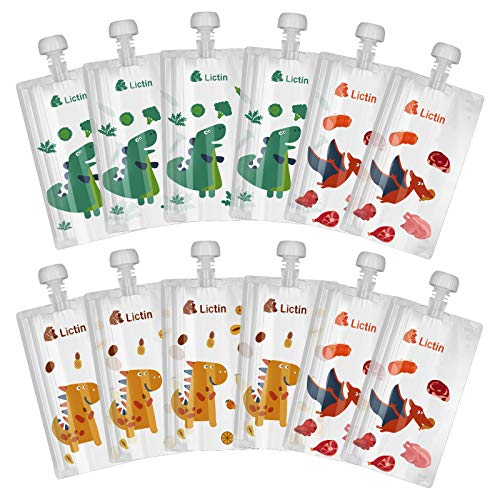 Lictin Gourde Compote Rechargeable 210ml - 12PCS Pouche Alimentaire Réutilisable, Double Zip Hermétique, Sans BPA et PVC, Pour Compotes, Purées et Smoothies