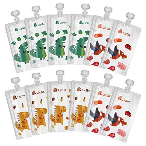 Lictin Gourde Compote Rechargeable - 12Pcs Pouche Alimentaire Réutilisable, Double Zip Hermétique, Sans BPA et PVC, Pour Compotes, Purées et Smoothies(210ml)