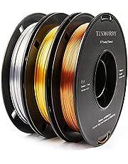 PLA Filament 1.75mm, TINMORRY Zijde Filament PLA voor FDM 3D printer en 3D pen, 1,5 kg 3 spoelen, Filament 3D Printing Materialen Zijde Goud + Zilver + Koper