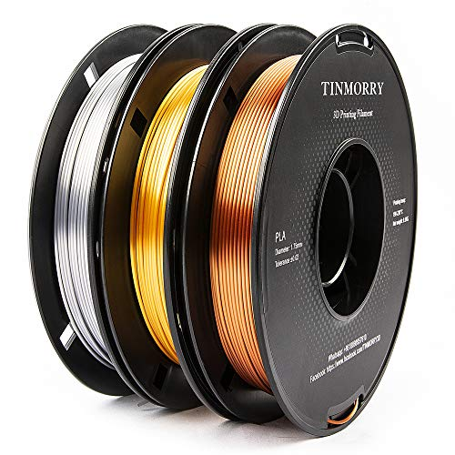 Filament 1,75 PLA, TINMORRY Silk PLA Filament 1,75mm für FDM 3D Drucker und 3D Stift, 1,5 kg 3 Spule, 3D Druckmaterialien Gold + Silver + Copper