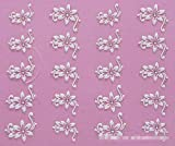 Set of 5 Nail Art Stickers Decal 3D Beauty White Flower Bling Clear Crystal