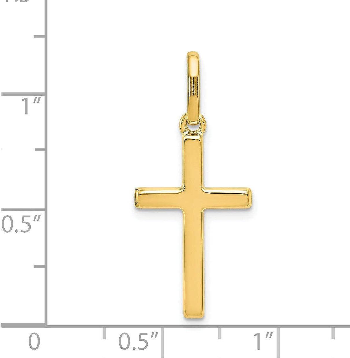 14K Yellow Gold Cross Pendant Charm Religious 30mm (1.18