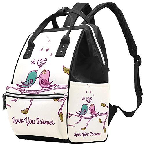 Sac à langer Mummy Sac à dos Love You Forever Tree Branch Couple Oiseau Multifonction Imperméable à l'eau Sac à dos de voyage pour soins de bébé