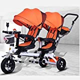 CAKUS Double Baby Stroller Children's Tricycle Twin Trolley Bicycle Baby Portable 1-3-6 Years Old Large Baby Carriage with Folding Pedal Push Handle Music Light and Umbrella (Orange)