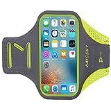 ランニング スマホ アームバンド HOHYSEN ランニング 携帯 スポーツアームバンド サイズ調節可能 タッチ操作 防汗 アームバンド ランニング スマホケース イヤホン穴付き 小物収納 軽量 携帯ケース 男性用 iPhone 6/6 Plus/6s/6s Plus/7/7 Plus/8/8 Plus、Samsung Galaxy S6/S7、Xperia XZ1 など5.5インチまでのスマホに対応 (蛍光緑)