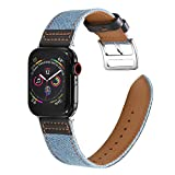Lifendear Canvas Bands Compatible with iWatch Bands 44mm 42mm 40mm 38mm Soft Fabric with Genuine Leather Lining Band for Apple Watch Series 6/5/4/3/2/1/SE Men Women Strap Replacement (Wathet Blue & Black, 38mm/40mm)