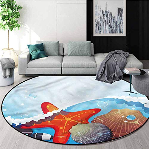 Check Out This RUGSMAT Starfish Small Round Rug Carpet,Foaming Ocean Non-Slip No-Shedding Kitchen So...