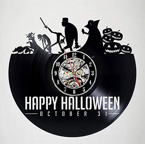 Knncch Horloge Murale en Vinyle Happy Halloween Night Design, Cadeau Fait Main pour Toutes Les Occasions