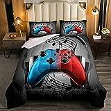 Parure de lit pour adolescent avec housse de couette matelassée et 2 taies d'oreiller Motif joueur de jeu Rouge/bleu