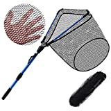 HUAYICUN Fishing Net Foldable Collapsible Telescopic Pole Handle Fish Landing Net Durable Rubber Material Mesh Safe Fish Catching Gift for Fisher