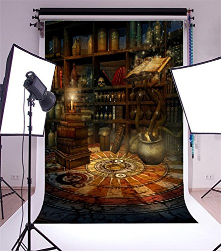 YongFoto 2x3m Vinyl Foto Hintergrund Halloween Grusel Nacht Innere Geschäftsfall Zauberbücher Düster Fotografie Hintergrund für Fotoshooting Portraitfotos Party Kinder Hochzeit Fotostudio Requisiten