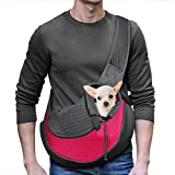 YUDODO Pet Dog Sling Carrier Breathable Mesh Travel Safe Sling Bag Carrier for Dogs Cats (M up to 10lbs Pink)