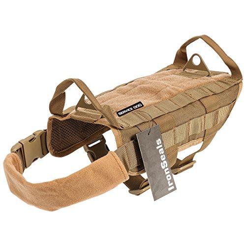 IronSeals Tactical Service Dog Vest Training Molle Harness Military Tactical Dog Training Vest Harness with Mesh Padding and Two Handles (Medium, Khaki)