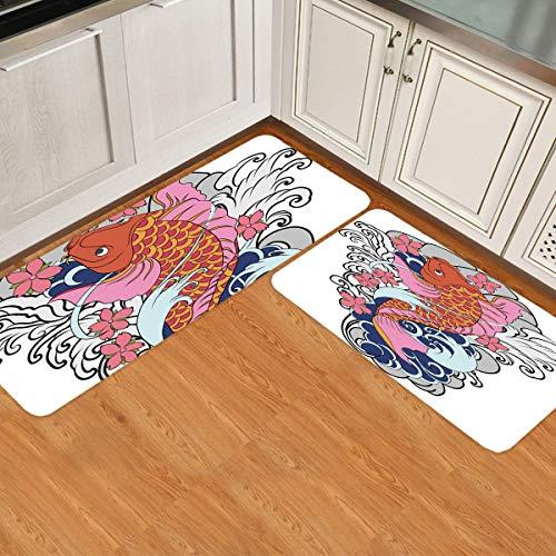 Juego de 2 alfombras de cocina, antideslizantes, suaves, superabsorbentes, para cocina, estilo chino, carpa roja y olas con detalles de flores, alfombra de piso de 59,9 x 89,9 cm + 59,9 x 180 cm