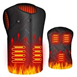 Chaleco Calefactable Eléctrico, USB Chalecos Termico Hombre Mujer, 3 Temperatura Ajustable, Lavable Chaqueta Térmica Calefactores Chaleco Cálido de Invierno para Moto Pesca Caza Acampada Esquí