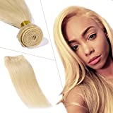 Sew in Hair Extension Human Hair One Bundle Straight Blonde 613# 18inch Sew in Hair Extensions Weave Hair Human Bundle Remy Hair Weft for Black Women Thick Soft Wavy Hair Bundle 100g